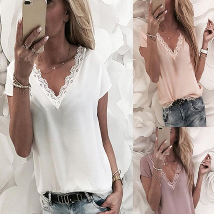 Fashionable Women Sexy And Charming V-Neck Top Popular Ladies Pure Color Lace Casual T-Shirt HOT SALE