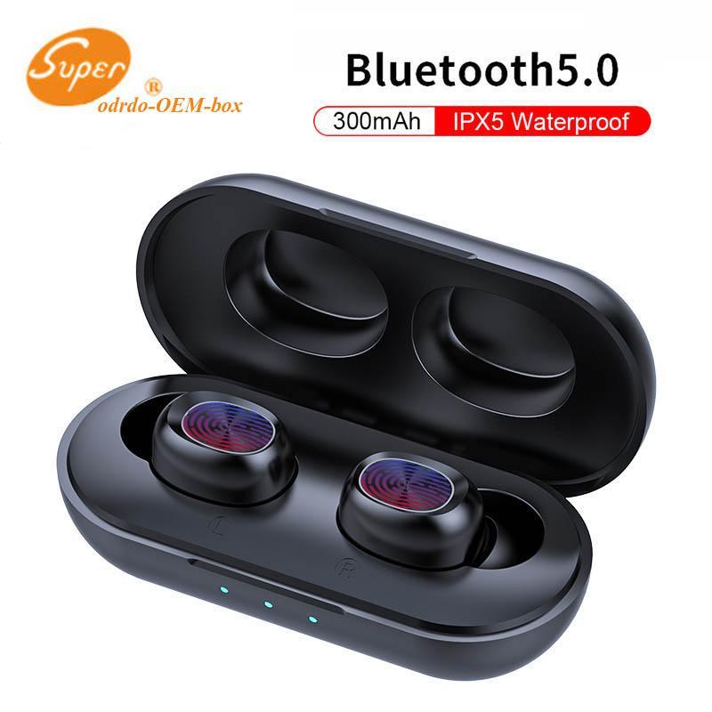 B5 TWS sem fio Fone de ouvido Bluetooth 5.0 Touch Control TWS Bluetooth Earbuds Waterproof Stereo Music Headset 300mAh Power Bank