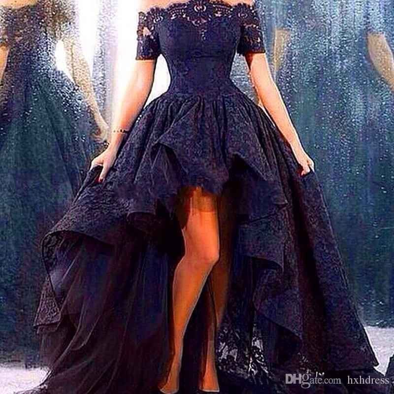 2019 New Black Lace Front Short Long Back Evening Dress Puffy Ball Gown Hi Lo Dubai Arabic Prom Dresses Vestido De Renda 2018