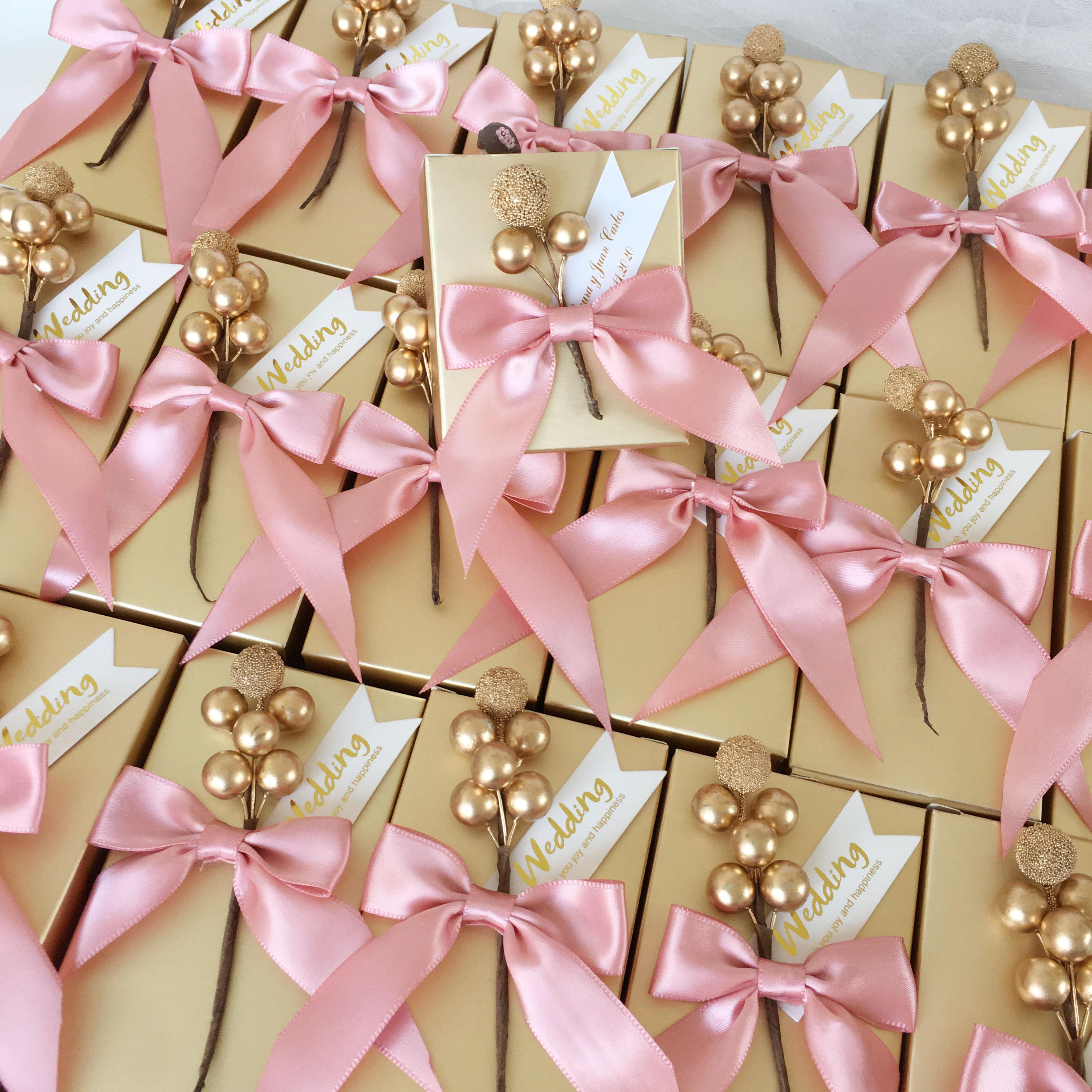 Custom gold candy box wedding baby shower birthday chocolate boxes party favors holder package for guests