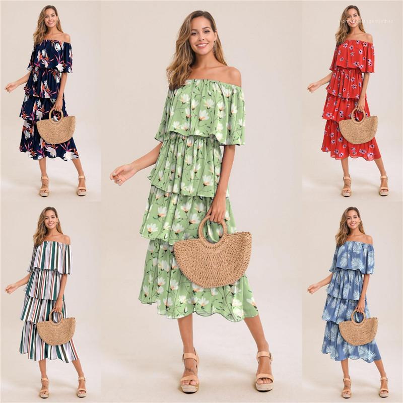 Sommer Slash Neck Frauen Kleid ärmellos Blumendruck Damen-lässige Kleid-Frauen-Entwerfer-elegante Rüsche lange Kleid