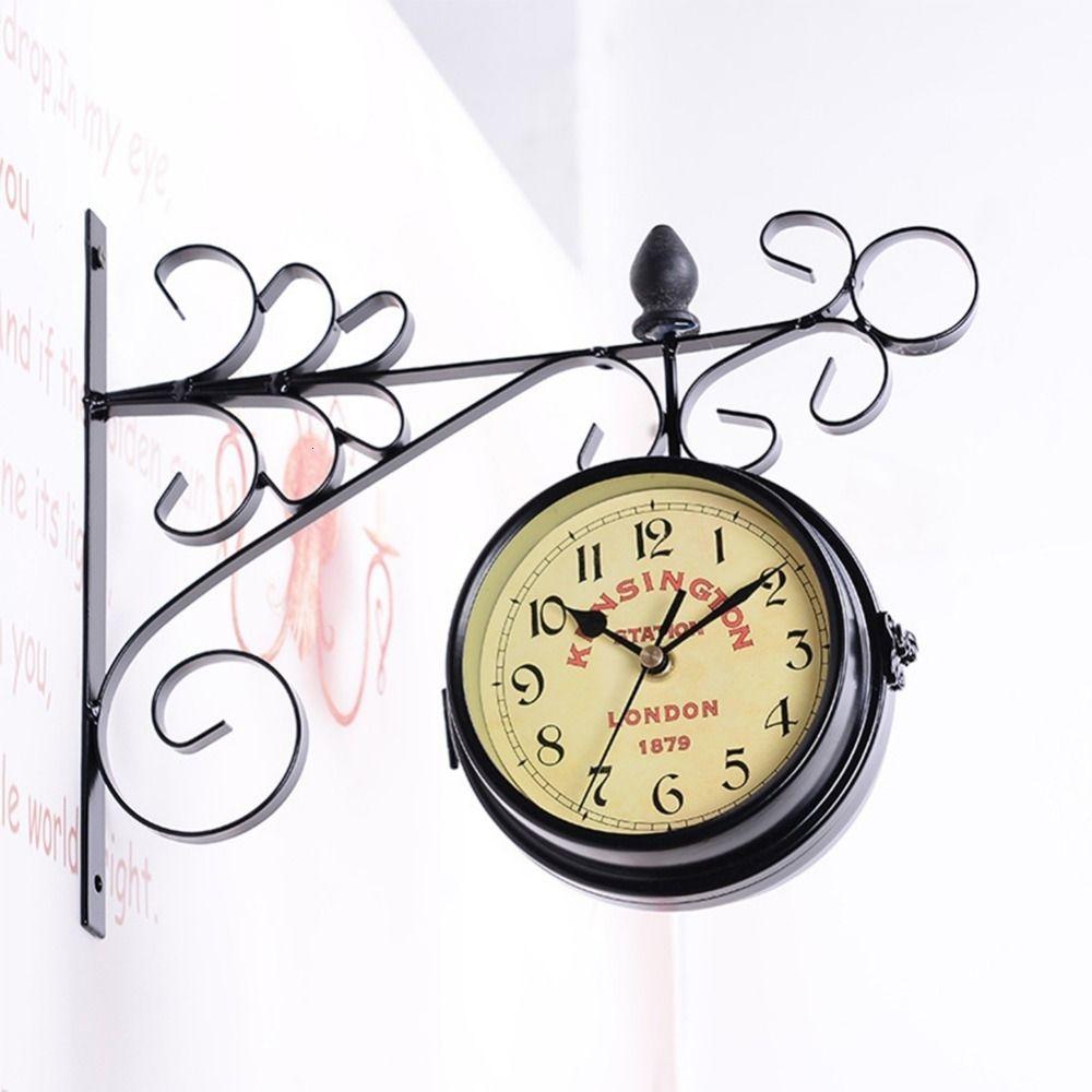 AsyPets Double-Side-Wandhalterung Uhr mit Mute-Bewegung Home Office Hotel-Dekoration Geschenk -40 CJ191214