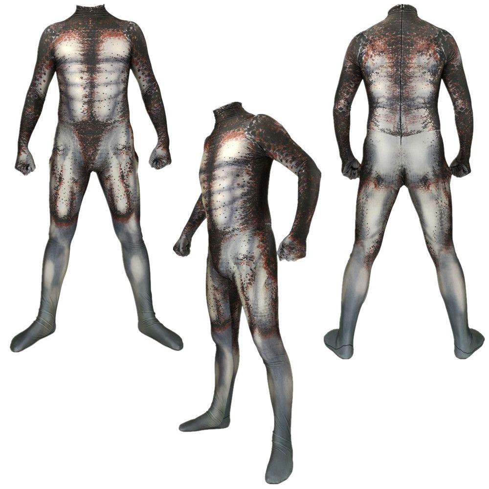 El tamaño asiático de Halloween Predator Superhero unisex del partido del traje de Cosplay 3D Zentai Catsuit del mono de piel uniforme Body