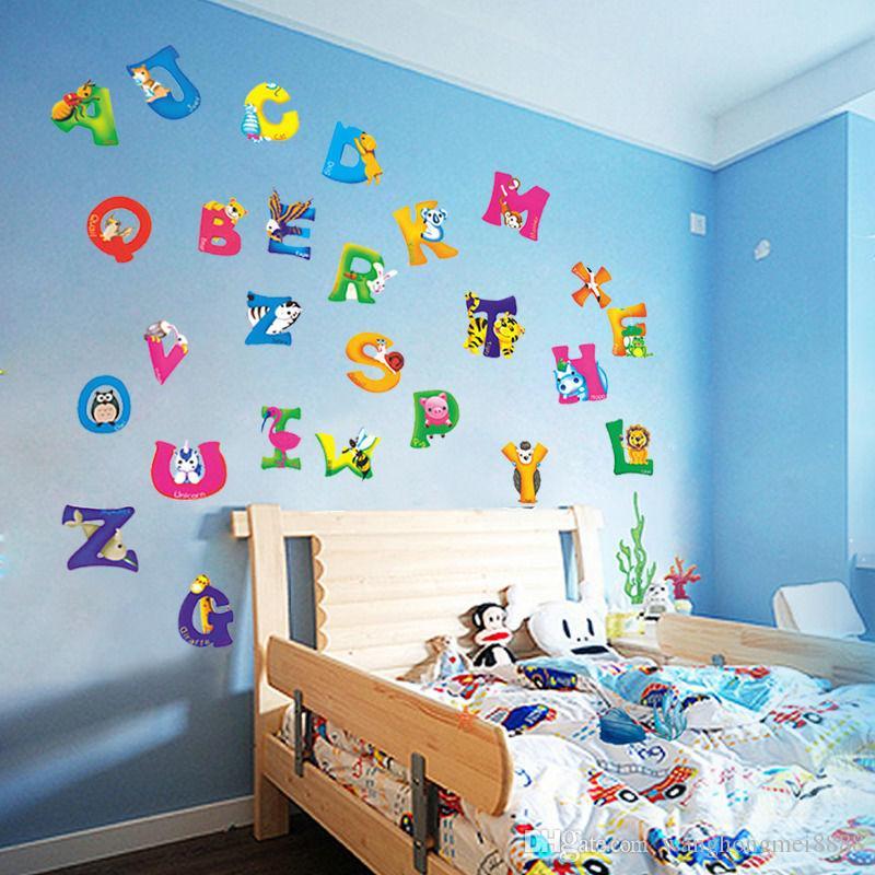 A-Z 알파벳 동물 이동할 수있는 벽 스티커 데칼 귀여운 아기 어린이 보육 비닐 DIY 벽 스티커