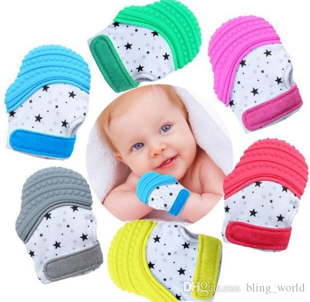 Silicone Teether Pacifier Glove Safely Infant Teething Pacifiers Glove Newborn Nursing Mittens Baby Teether Chewable Nursing Beads cls358