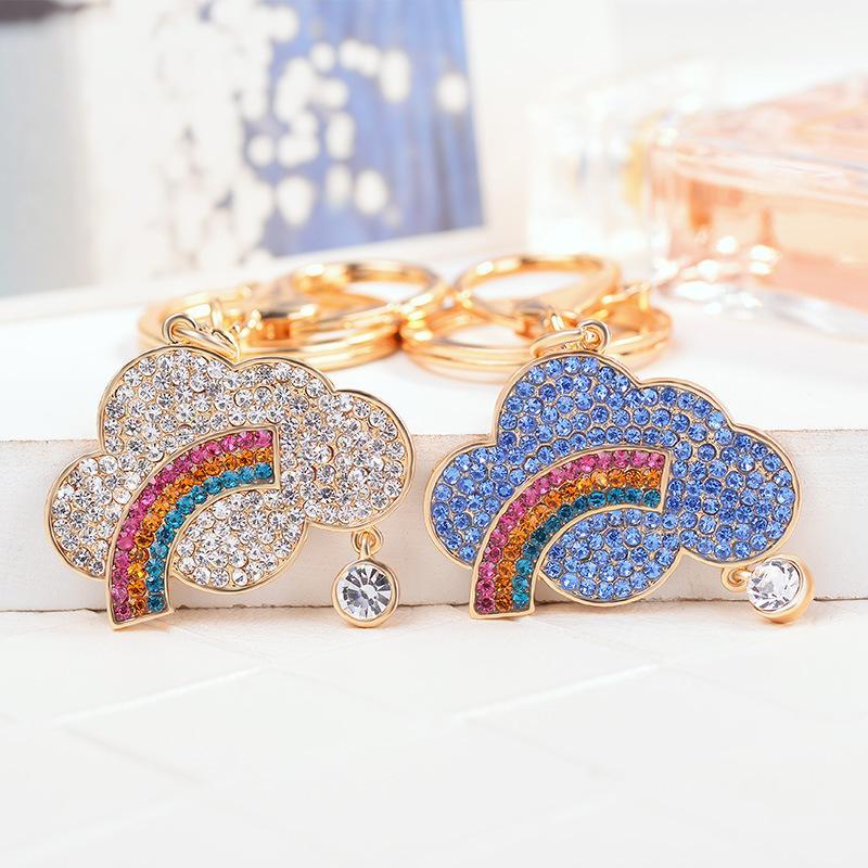 Charm Crystal-nuage-arc Keychain Femmes d'anniversaire de filles anneau porte-clés Cadeaux Trinket Matériel Alliage Bijoux 2019