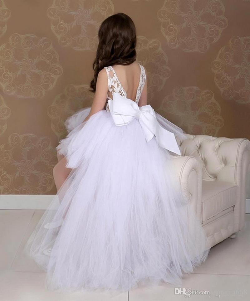 High Low Tüll Satin-Blumen-Mädchen-Kleid mit großem Bogen-V-Back Jewel Ausschnitt Mädchen-Festzug-Kleider Schönen Geburtstags-Party-Kleid nach Maße