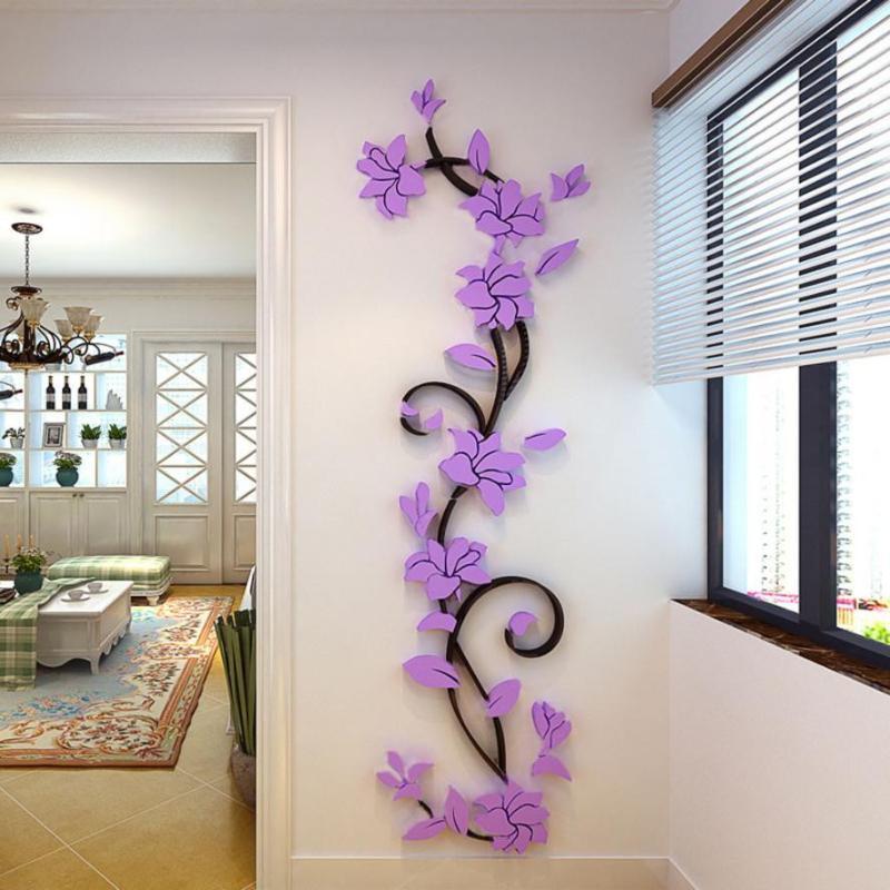 DIY 3D moderno hermoso de cristal acrílico pegatinas de pared de fondo de la sala dormitorio TV Inicio pegatinas en la pared
