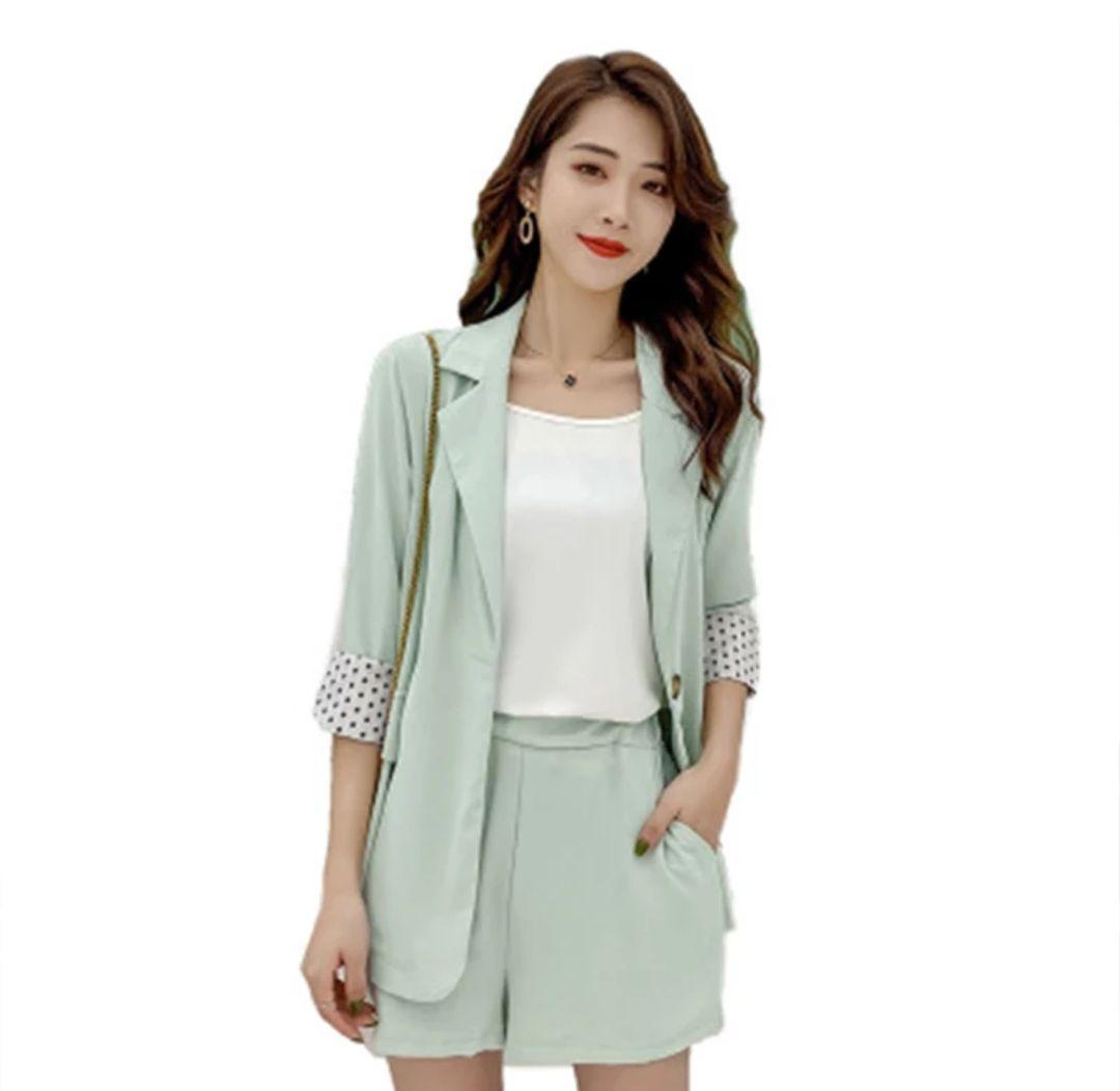 2020 Nuova Primavera Estate donne Set 2 pezzi Vestiti uguali brevi pantaloni a vita elastica casuale Dots francese Suits Lady Ufficio