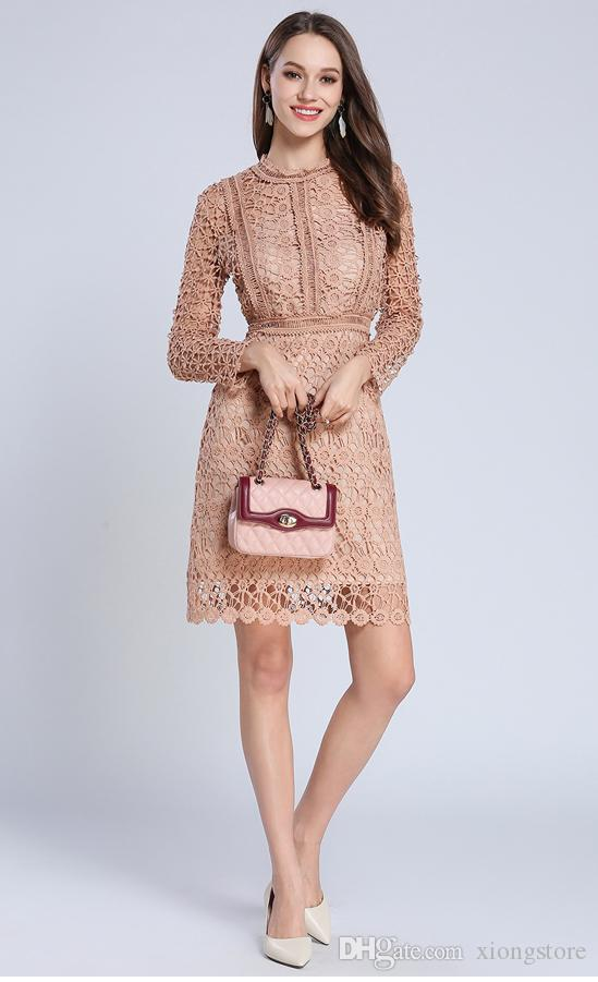 2019 Hollow Out Crochet Lace Dress Women Autumn Long Sleeve Sexy Party Dresses Solid Elegant Flower Embroidery Dress Vestidos