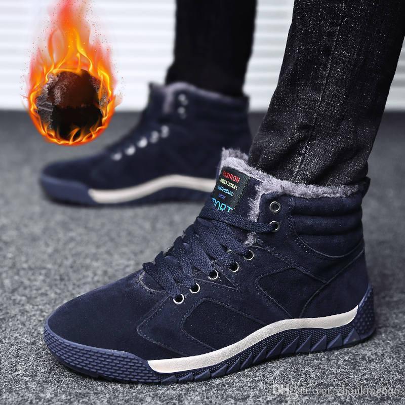 Vaca gamuza invierno piel caliente masculinos tobillo de la nieve Botas de hombres Zapatos Casual las zapatillas de deporte para adultos Calidad Ruta de goma Calzado