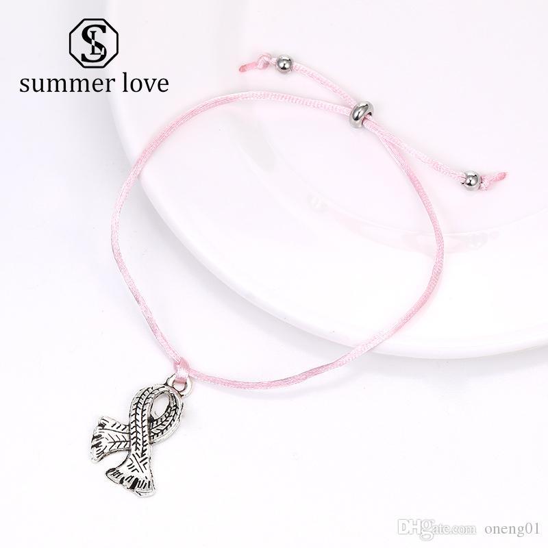 Новейшие женские моды розовая лента молочной железы браслет рак осведомленности очарователь плетеные веревочные подвесные браслеты с заставкой пожелания для ювелирных изделий