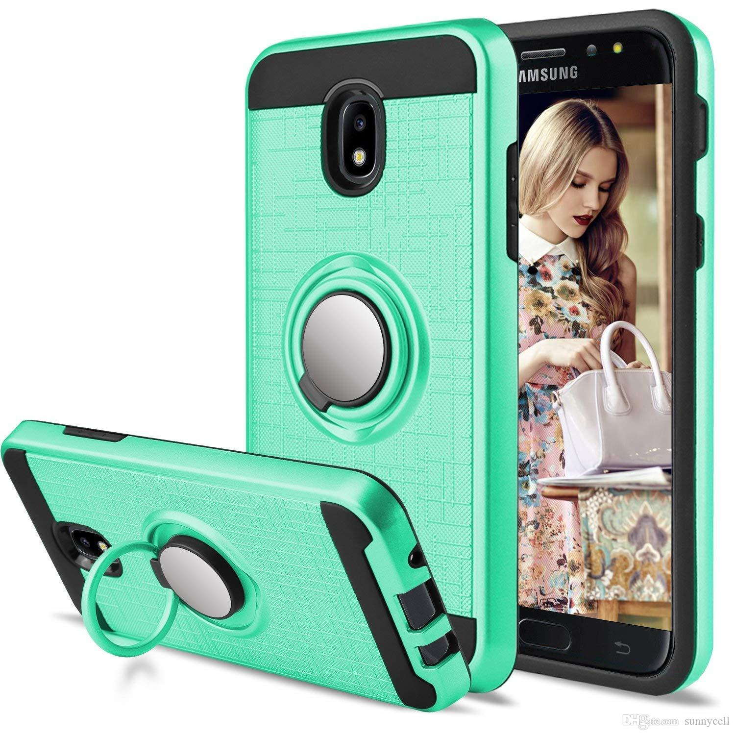 For Samsung J3 2018 J7 J337 J737 Galaxy Amp Prime 3 PRIME J3 Emerge 360  Stand & Dual Layer Resistant Magnetic Back Cover Phones Cases Silicone  Phone
