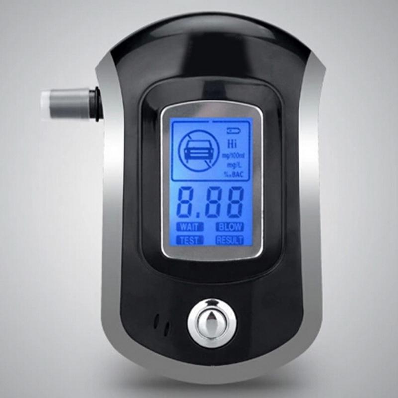 5 Ağızlıklar Alkol Alkol Dedektör AT-6000 ile LCD Dispaly ile Profesyonel Dijital Breath Alkol Tester Alkol