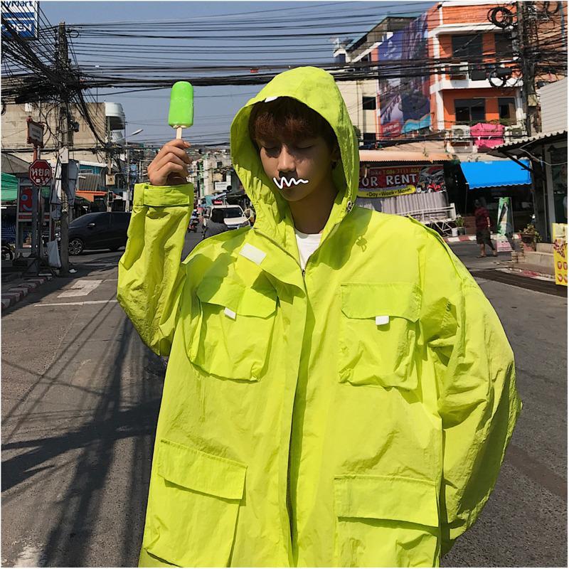 2019 лето корейская версия новой волны мужской модели с капюшоном дышащая пара свободная куртка уличная одежда