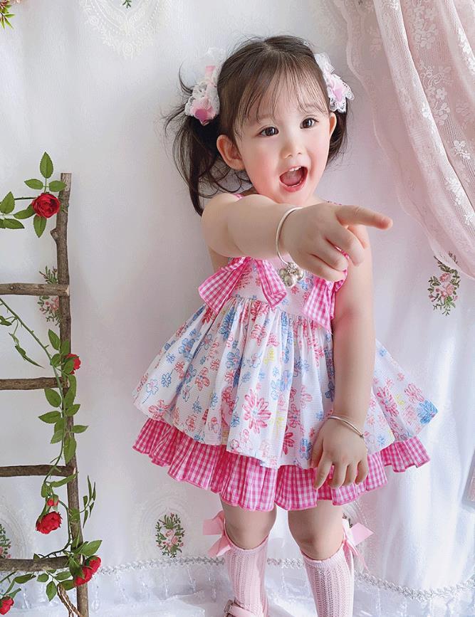 3шт лето новый испанский Лолита старинные принцесса платье без рукавов печати лук милый платье для девочек день рождения vestidos Y3048