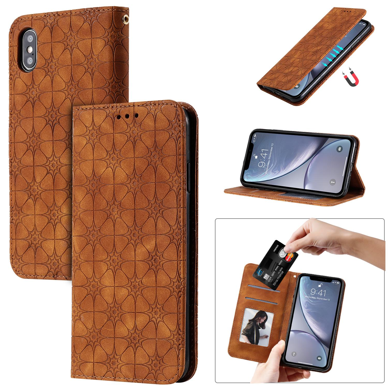 Para iPhone X XS Funda Flip Cover Stand Wallet Cuero en relieve Lucky Flower Magnetismo fuerte Auto Adsorción para iPhone XR / XS MAX