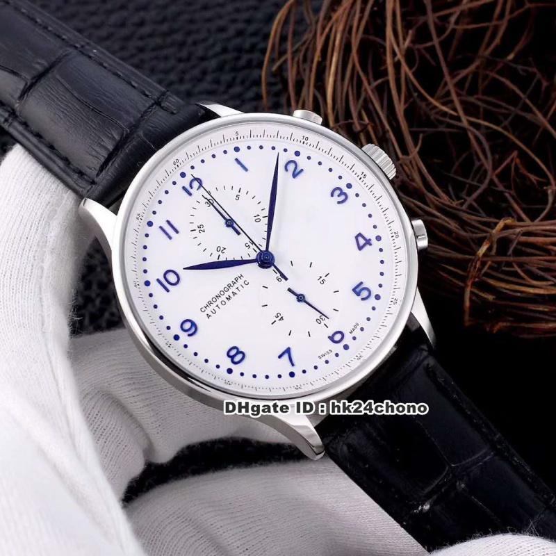 7 Стиль Высококачественные часы Португанец Хронограф Кварцевые Мужские Часы 371446 316L Стальный Чехол Белый Набор Кожаный Ремешок Генты Часы