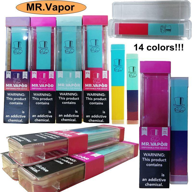 Newest MR.Vapor Disposable Vape Pen Starter Kit 280mAh Battery 1.3ml Cartridges 14 Colors Empty Device Pod New Arrivals