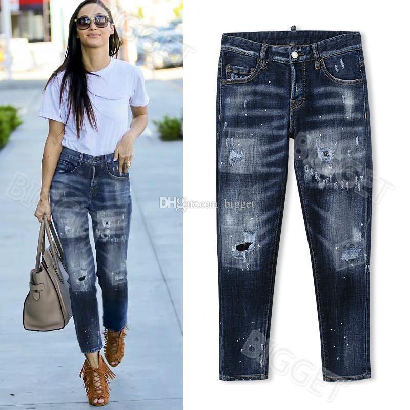 Refroidir fille Skinny Jeans Lady Bleach peint Lavé Porté pantalon rouge Patch Cowboy Ripped Taille 26-30