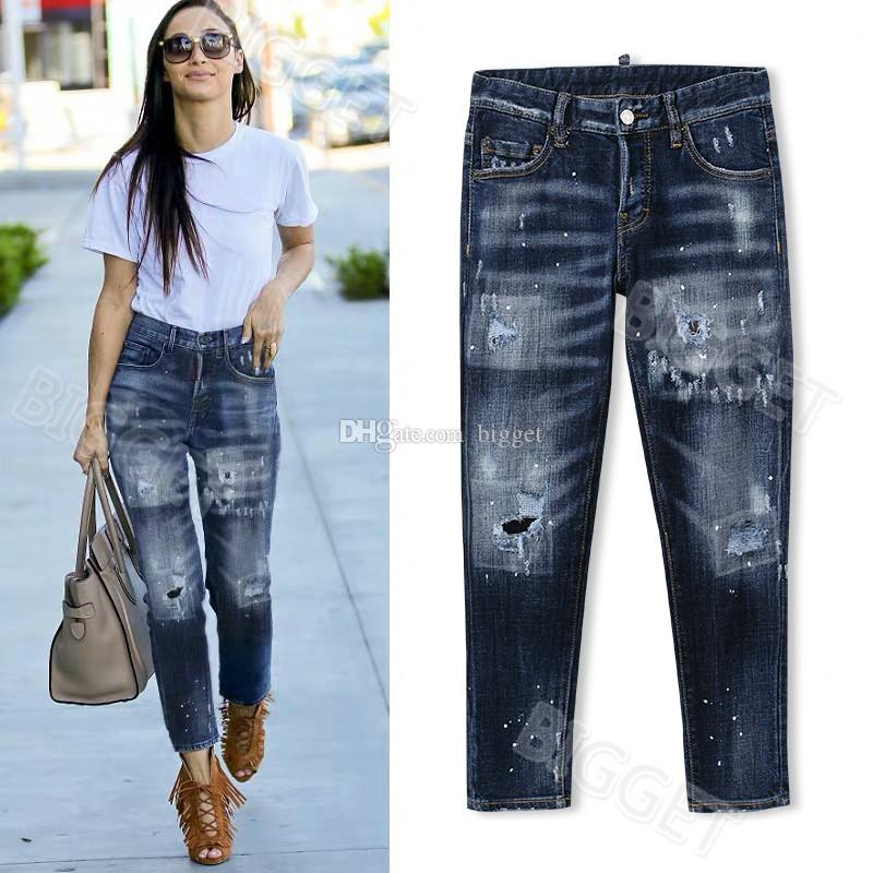 Cool Girl Skinny Fit Jeans Lady Painted Bleach Washed Worn Ripped Red Patch Cowboy Pants Size 26-30