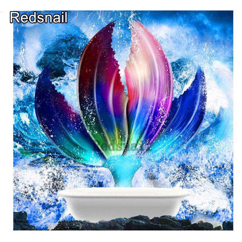 Diamond Painting beautiful Mermaid tailw DIY 3D Diamond Embroidery blue ocean Landscape Mosaic drill Bathroom decoration TT732