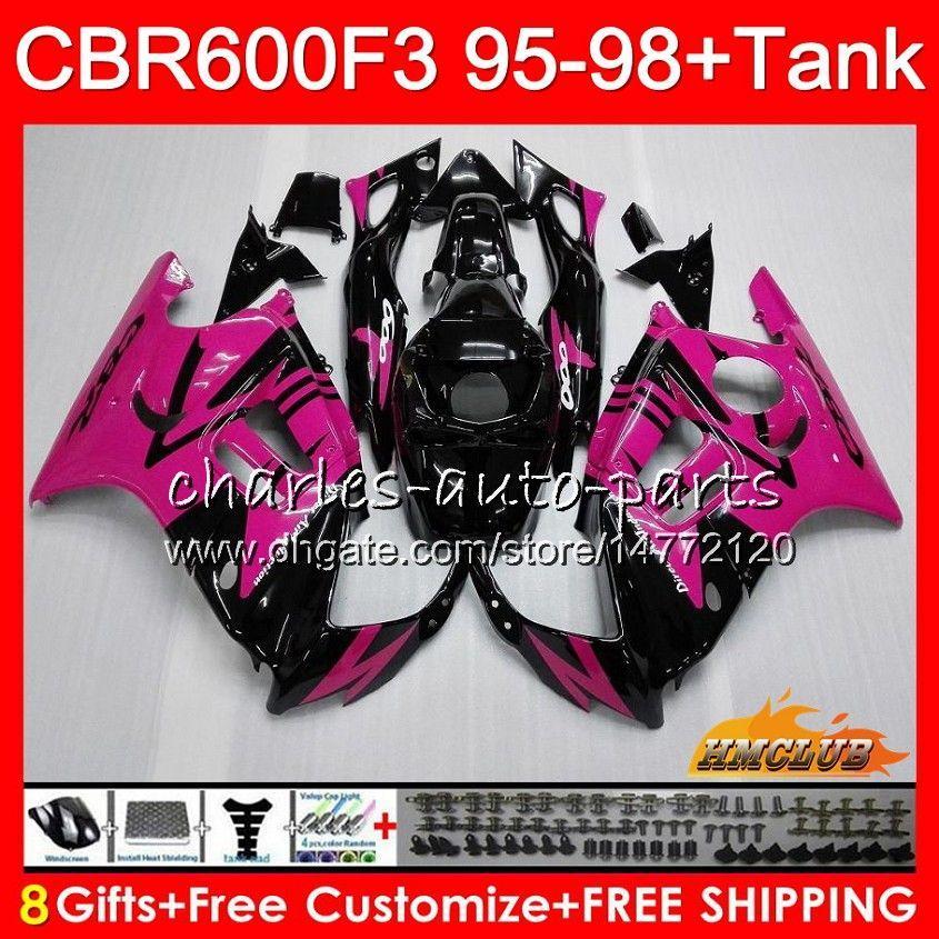 Body + Serbatoio per Honda CBR 600F3 600cc CBR600 F3 95 96 97 98 41HC.133 CBR 600 FS F3 CBR600FS rosa CBR600F3 nero 1995 1996 1997 1998 carenatura