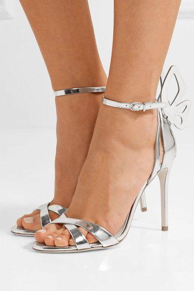gli alti sandali di nozze del vestito da modo delle donne farfalla scheggia serata di festa con tacco Champagne gladiatore sandali casuali sophia scarpe da donna Webster