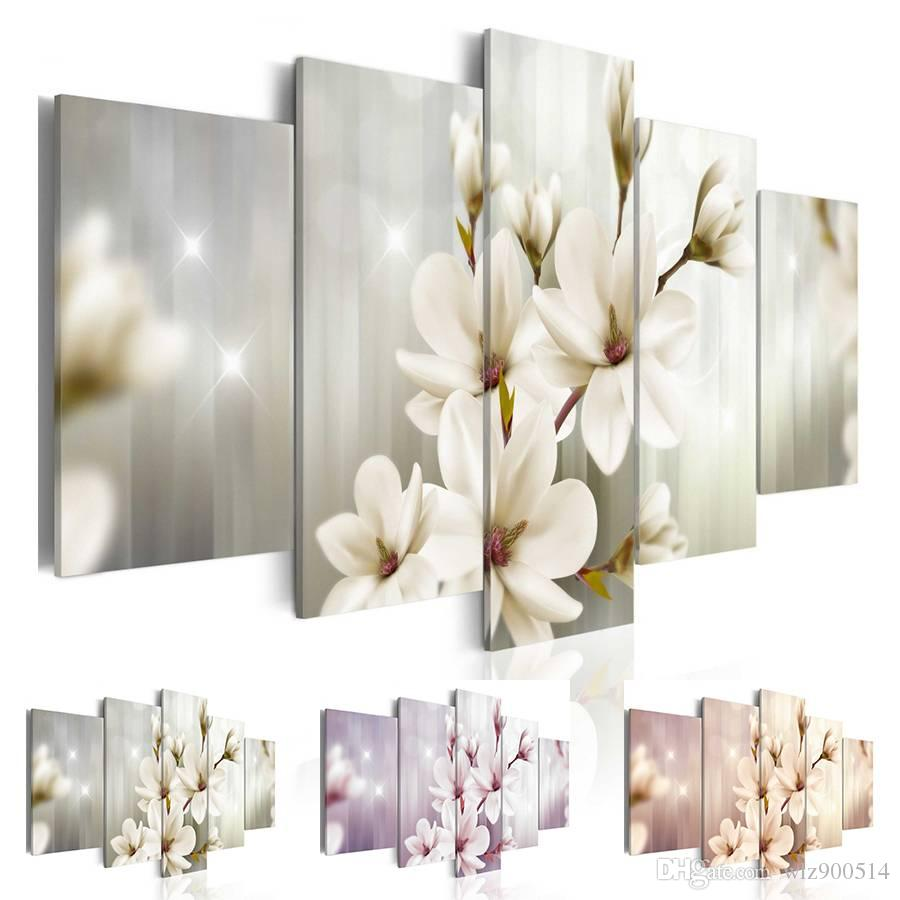 Fashion Wall Art Canvas Painting 5 Pieces Green Purple Red Magnolia Flower Modern Home Decoration,Choose Color And Size No Frame