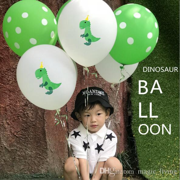 Участник красочным принтом Динозаврик латекс воздушный шар Дети день рождения декорации DHL бесплатная 5688