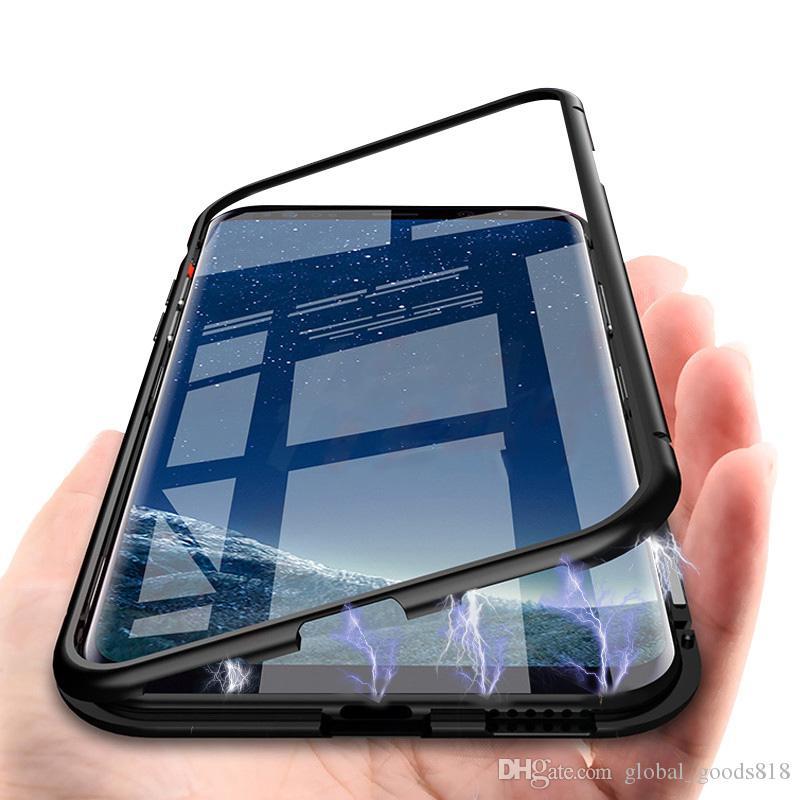 Чехол для телефона с магнитной адсорбцией в металлическом каркасе с защитой от царапин и задним стеклом для Samsung Galaxy S10 Plus S9 S8 Note 8 9