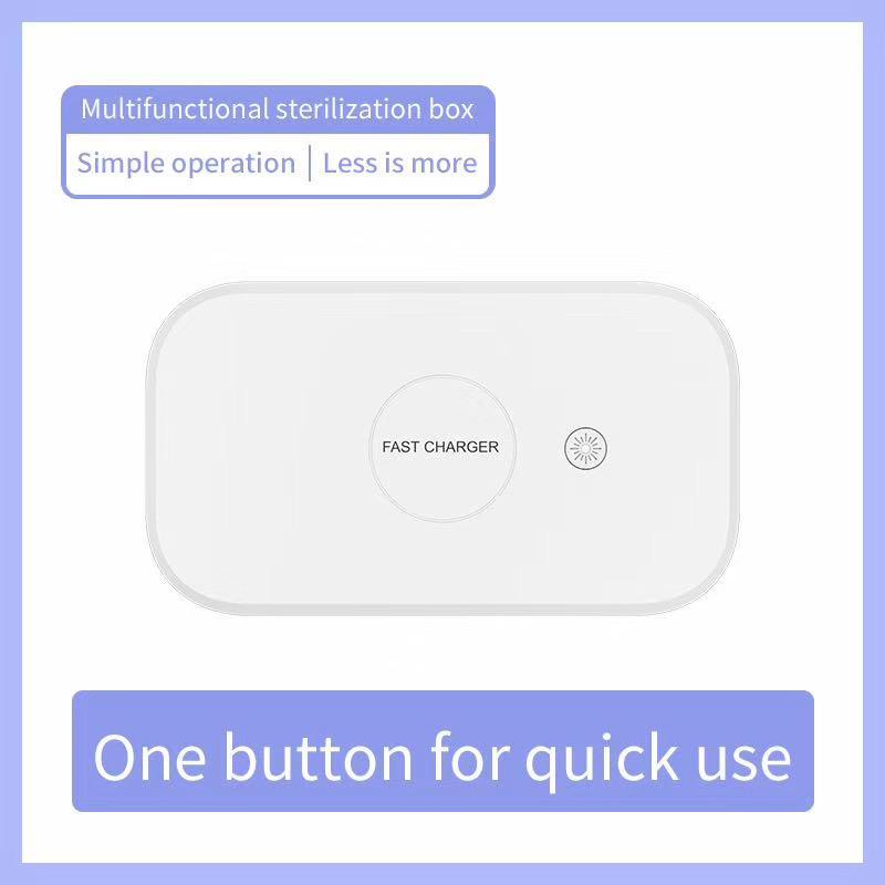 Chargeur sans fil stérilisateur UV Box pour Smart Phone 10W Charge rapide double QI désinfection UV Six Lampes