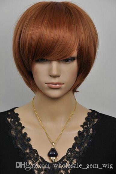 SHIPPIN GRATUITO + + + HOT Cosplay Peluca recta castaña rojiza Nueva peluca de pelo para mujer