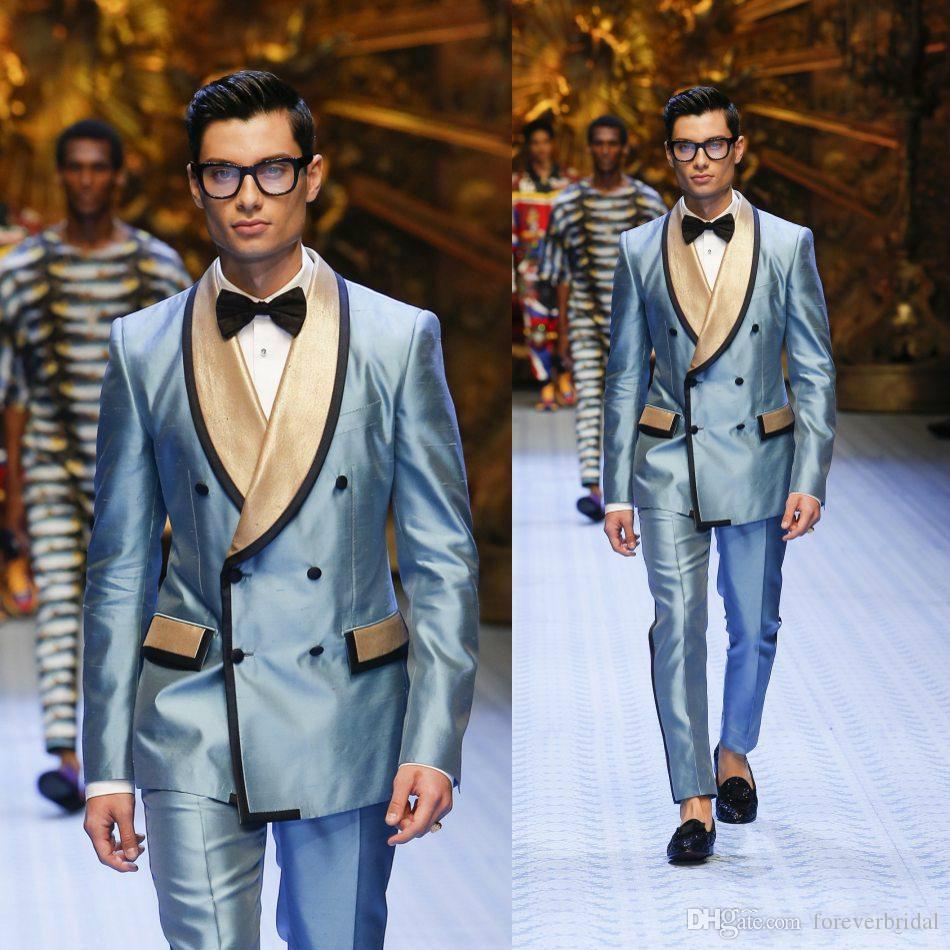 Os Homens Da Moda Vestem-Se De Ouro De Peito Duplo, Cor De Lapela Azul, Homens De Smoking Duas Peças (Casaco+Calças) Vestuário De Negócios Conjunto Smokings