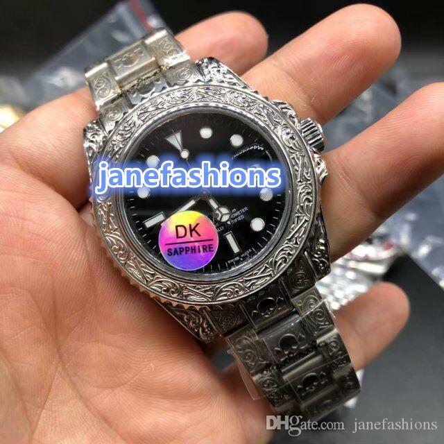 Relojes para hombres tallados en boutique de moda Relojes para hombres más vendidos en el mundo Reloj automático mecánico automático de acero inoxidable plateado