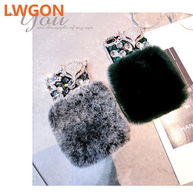 호화스러운 큰 모조 다이아몬드 여우 다이아몬드 진짜 토끼 모피 소프트 커버 케이스 OPPO A3S F9 F7 F5 A3S A5 A7X Realme 2 프로 블링 케이스