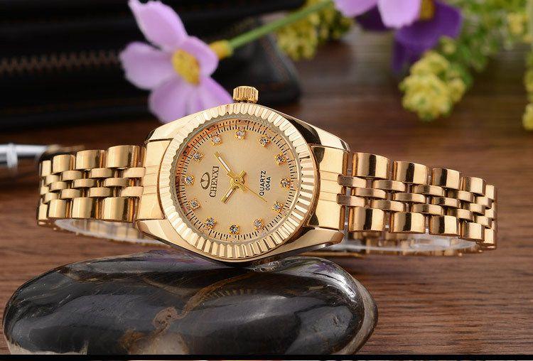 Marca Top Luxury Ladies Gold Watch Women Reloj de oro Femenino Dama Vestido Rhinestone Cuarzo Relojes impermeables Femeninos