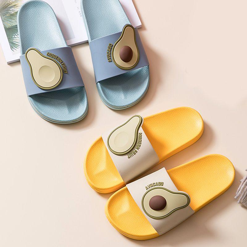 Frauen-Sommer-Slipper Slide Sandalen Strand Slides Cartoon Früchte Avocado Flip Flops Anti-Rutsch-weiche Sohle Damen Herren Liebhaber Schuhe