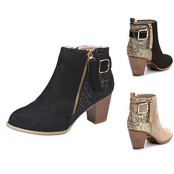 Daha ucuz Yeni Kadın Moda Seksi Ayak bileği Boots Askeri kadınlar botlar tıknaz topuk Günlük Elbise ayakkabı tasarımcısı Ayakkabı 35-43 Süet