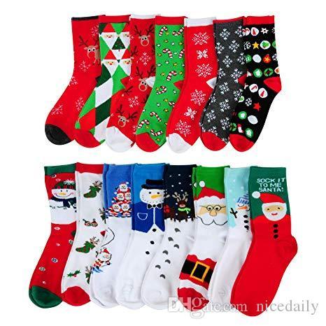 Рождественский чулок Noel 1Pair Хлопок Санта-Клаус снеговика носки Новогодние украшения для Home рождественские подарки Новогодний подарок 2020