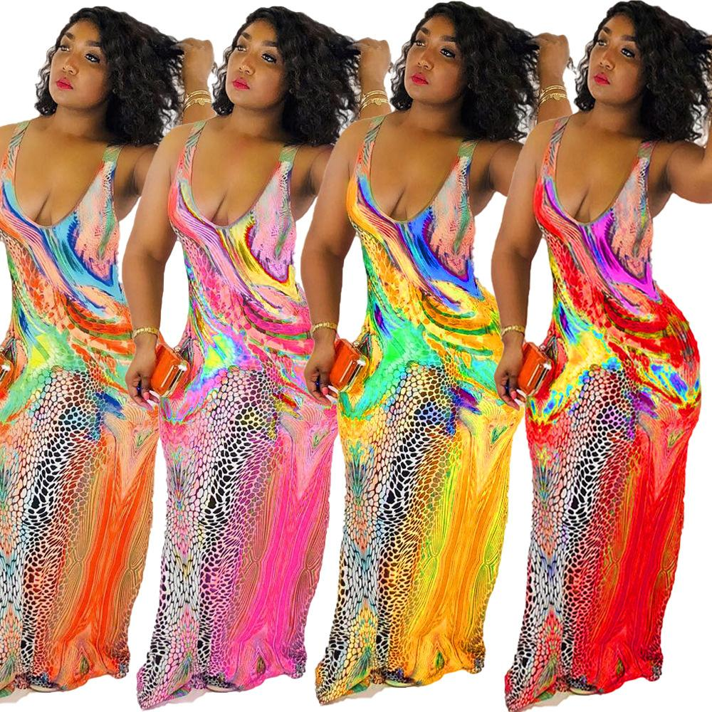 Colorido y estampado floral maxi vestido de las mujeres con cuello en V Vestido de deslizamiento de verano 2020 nuevo tamaño vestido largo sin mangas Plus 3XL vestido de fiesta
