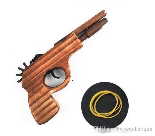 새로운 도착 아이 장난감 나무 장난감 총 클래식 재생 고무 밴드 장난감 권총 총 흥미로운 아이 총 장난감