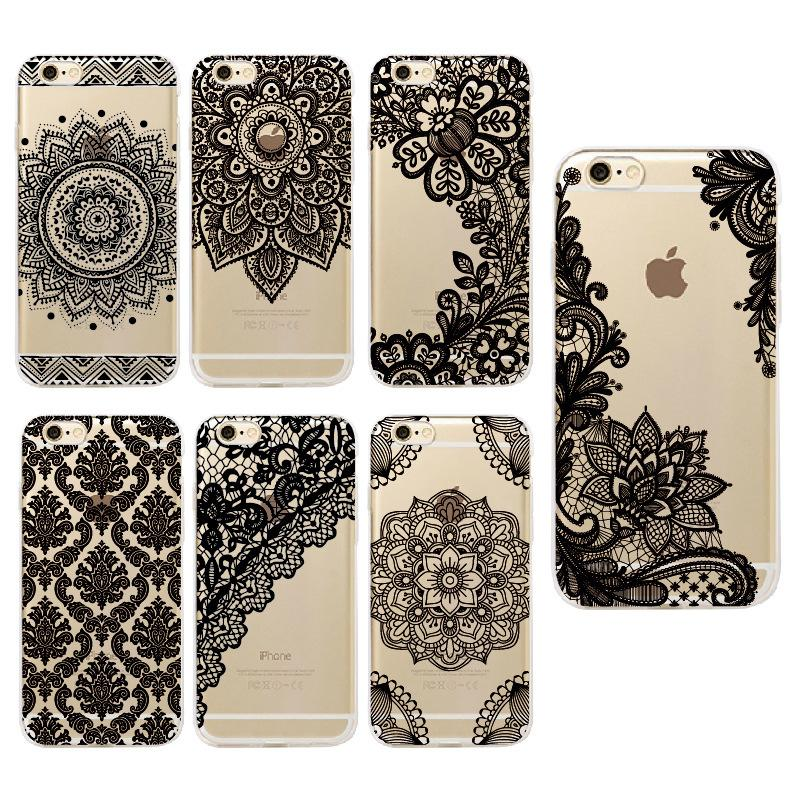 Vintage Floral Lace Mandala Flower Soft TPU Case For iPhone 8 7 6 6S Plus X Xs Max Xr cases Fashion phone Cover