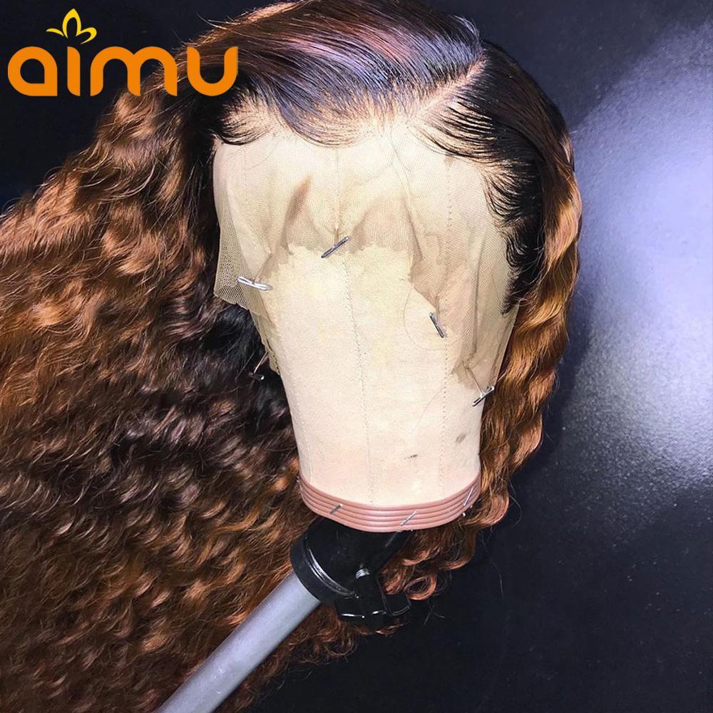Aimu color ombre pelo humano del frente del cordón peluca rizada 13X6 pelucas glueless Remy para las mujeres negras pre arrancó con el pelo del bebé