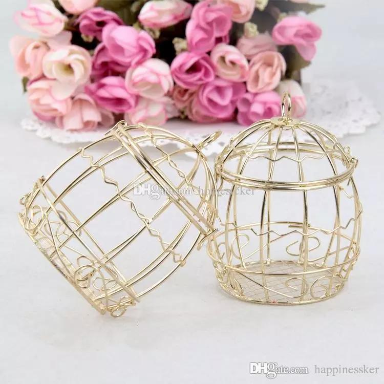 Wedding Favor Box Европейские креативные Gold Matel Box романтические кованые клетки для птиц свадебные конфеты коробка жестяная коробка оптом Свадебные сувениры