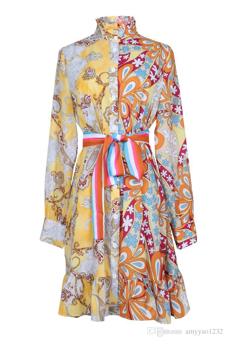 82 XL 2019 Livraison Gratuite Robe de Mariage D'été Marque Même Style Robe À Manches Longues Ras Du Cou Au-dessus Du Genou Vêtements Pour Femmes YY