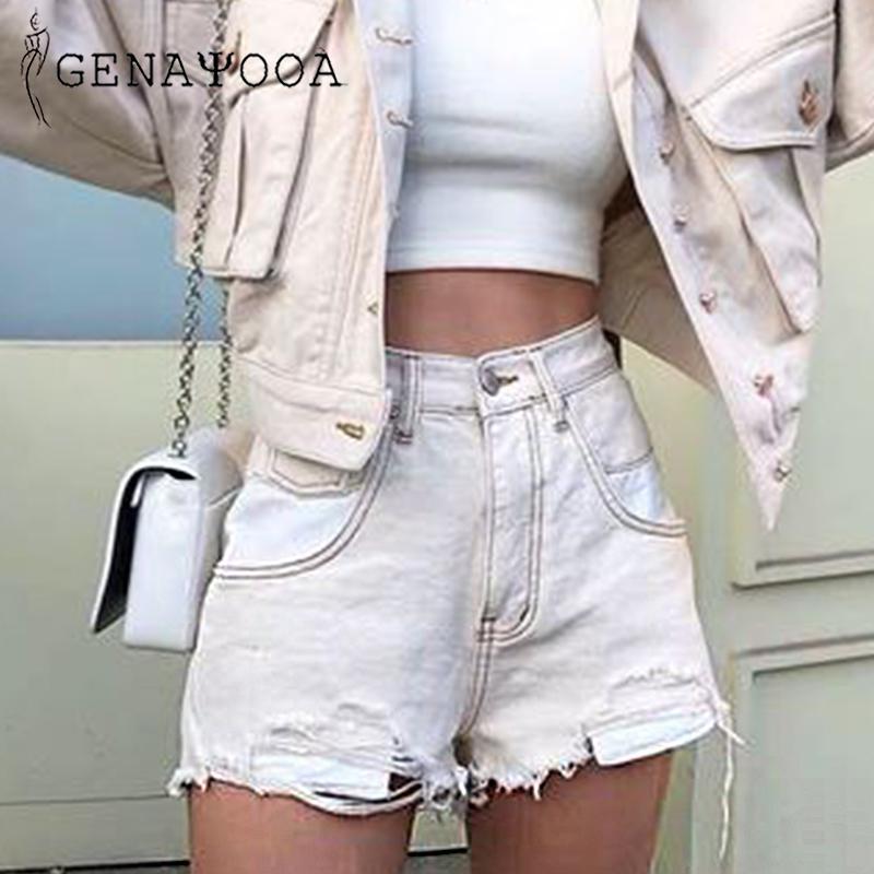 Pamuk Ripped Genayooa Vogue Patchwork Bayan Kot Şort Yüksek Bel Jean Şort Kadınlar Yaz 2019 Kısa Feminino Y200512 Yıkanmış