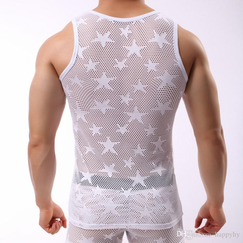 Mens Workout Tank Top and Short White Sleeveless Muscle Vest Casual Undershirt with Boxer Brief Underwear Set