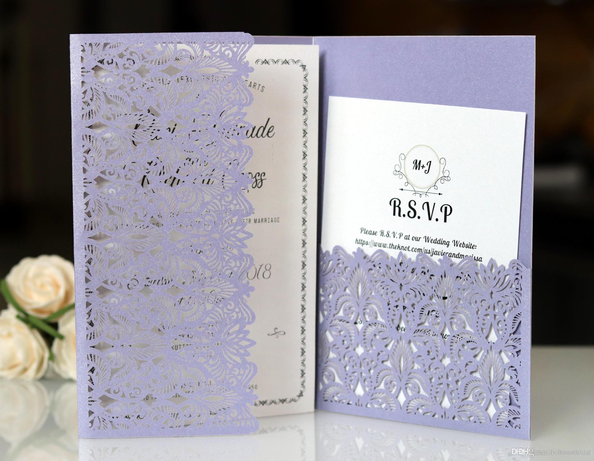 Лазерная резка Свадебные приглашения с карточками RSVP Сиреневого цвета Индивидуальные цветы Сложенные свадебные приглашения с конвертами BW-HK153L