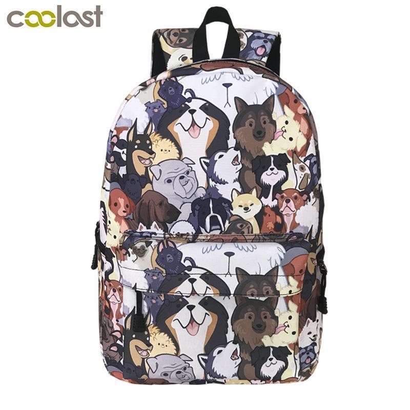 Cute Puppy Dog Backpack For Teenager Boys Girls Children School Bags Women Laptop Backpack Kid Book Bag Back To School Backpacks Y19062401